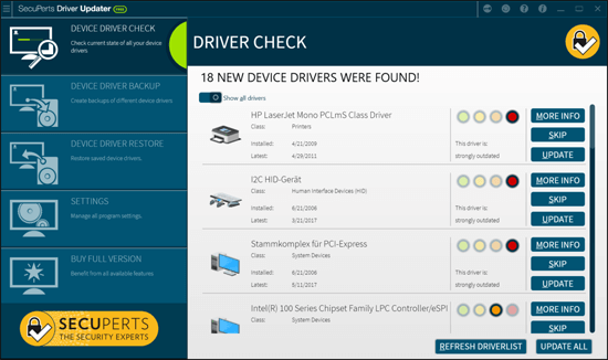 SecuPerts Driver Updater Screenshot